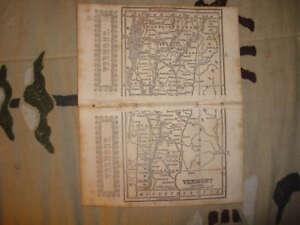 1851 ANTIQUE VERMONT MAP W RAILROAD SUPERB rare NR