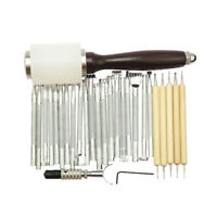 27PCS/Set Manual Leather Craft Carving Stamp Hammer Embossing Beveler Tools Kits