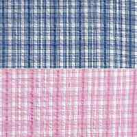 Ticking Stripe Check Style Blue or Pink 100% Cotton Seersucker Fabric