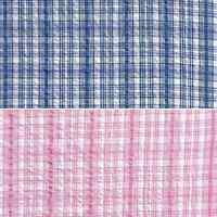 Ticking Stripe Check Style Blue or Pink 100% Cotton Seersucker Fabric