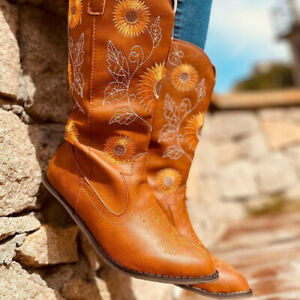Womens Retro Embroidery Sunflower Low Heels Shoes Western Cowboy Mid Calf Boots