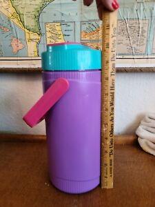Vintage Thermos 1990s Personal Cooler Drink Jug Water Bottle Purple Pink Teal