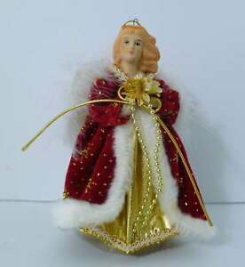 Vintage Angel Christmas Tree Ornament Red Gold White Coat Wings Rare
