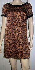 Viscose Party Animal Print Short Sleeve Dresses for Women