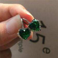 4Ct Heart Brilliant Cut Green Emerald Drop Dangle Earrings 14K White Gold Over