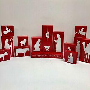 Nativity Set 14 wooden blocks unbreakable Christmas decor Manger Baby Jesus