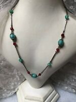 1930s Peking Glass Necklace Metal Link Vintage Faceted Retro Jewellery Jewelry