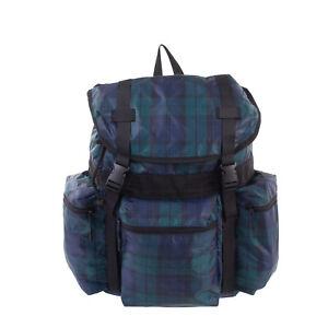 TOPMAN Backpack Rucksack Extra Large Plaid Pattern Padded Mesh Back Drawstring