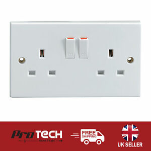 Switched 2 Gang Wall Socket 13A Mains Twin Double Plug Electrical Power Outlet