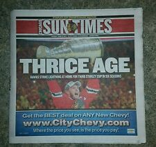 CHICAGO BLACKHAWKS STANLY CUP 1ST EDITION 6-16-2015 CHICAGO SUN TIMES  NEWSPAPER