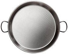 La Valenciana Paella Pan Finish Polished Extra Thick Steel Stainless Black,