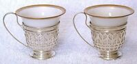 2 Vintage Gorham A5549 Pure Sterling Silver Holder Lenox Demitasse Cups AS19