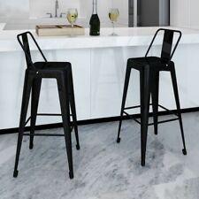 Barkruk vierkant + rugleuning zwart (set van 2) staal bar kruk barstoel stoel