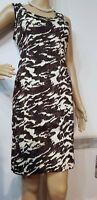 MICHAEL KORS ANIMAL PRINT DRESS SIZE 2 / UK 10 APPROX BLACK BROWN AND CREAM