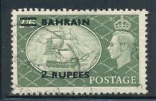 BAHRAIN 78a SG77a Used 1953 2r on 2sh6p HMS Victory ovpt BAHRAIN Type II Cat$55