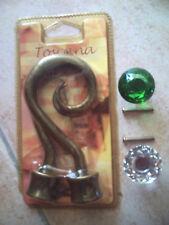 2 EMBOUTS DE TRINGLE DE RIDEAU+2 POIGNETS DE COMMODE OU ARMOIRE,vert et cristal