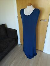 Ladies OASIS Dress Size L 14 16 Blue Jersey Slouchy Long Maxi Stretch Casual