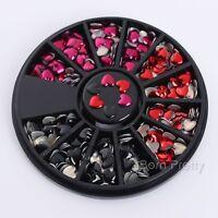 Nail Rhinestone Crafts 3D Nail Art Decoration Wheel Mixed Color DIY Heart Design