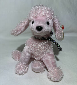 TY Brigitte Dog Beanie Baby Plush 2001 Pink Poodle Beanbag Stuffed Animal Toy