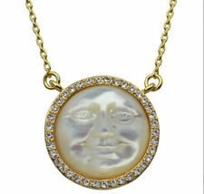KIRKS FOLLY MOTHER OF PEARL SEAVIEW MOON NECKLACE goldtone cream mist
