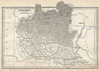 A2923 Lombardia - Carta geografica antica del 1910 - Old Map