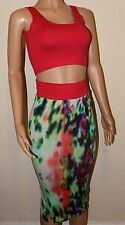 BNWT boutique red multi dress midi skirt & low cropped bra top suit bodycon 8 10