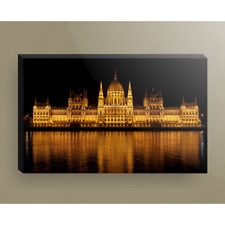 Parliament in Budapest Hungary Lit up at Night 16x24 Canvas Wrap Wood Frame