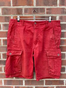 LEVI STRAUSS Cargo Combat Shorts Red W36 Zip Fly Casual Regular Fit