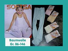 Balett Strumpfhose Baumwolle Gr. 86-146 Zarte Farben weiss,rosa,creme,blau,Neu