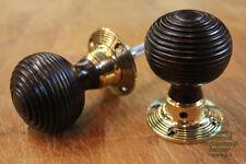 6 x Pairs of Rosewood Beehive Doorknobs w/ Brass Collars (WDK7)