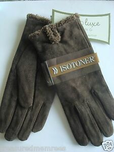 ISO Isotoner Ladies Microsuede Gloves ~ Size Large ~ Brown ~ NWT MSRP $38.00