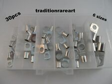 30 PIECES 6 SIZES TINNED COPPER LUG BATTERY CABLE CONNECTOR TERMINAL ASSORTMENT