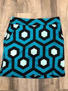 Boutique Loudmouth Ladies Womens Sz 2 Blue Black Multi Skirt Skort NWOT