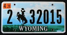 "WYOMING  "" BRONCO HORSE COWBOY GRAND TETON N.P.""  2010 WY Graphic License Plate"
