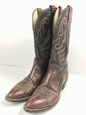 """Hondo Mens Sz 9C 14"""" Black Red Animal Striped Textured Leather Cowboy Boots9040"""