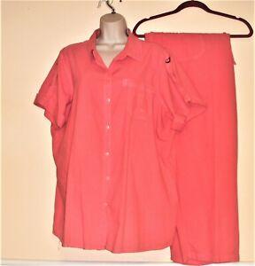 Avenue Womens Size 22/24 Pink 2 pc Suit Jacket & Elastic Waist Pants 100% Cotton