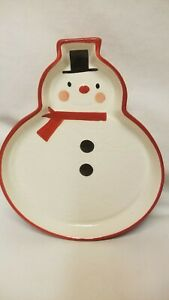 Hallmark Christmas Holiday Snowman Quilted Plate Dish New Very Cute Frosty
