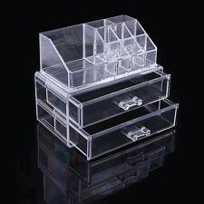 Clear Acrylic Makeup Cosmetics Jewelry Organiser 2 Drawers Display Box Storage
