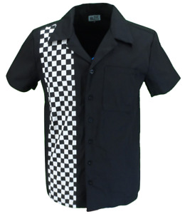 Mens Retro Black and Checkerboard Rockabilly Bowling Shirts