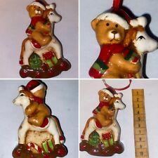 🌟Gisela Graham Ceramic Bear On Rocking Horse Christmas Tree Decoration Bauble