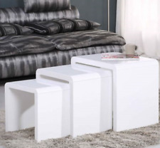 3 Nest of Tables Coffee Table Side Tables High Gloss Display Wooden White