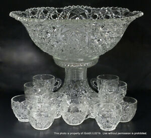 15-PC LARGE Vintage PRESSED GLASS PEDESTAL PUNCH BOWL W/ CUPS
