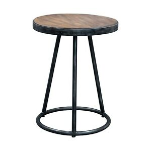 Uttermost Hector Light Grey and Aged Steel Round Accent Table RRP £240