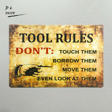 DL- shabby chic Retro Tool Rules don't even look at them metal wall art sticker