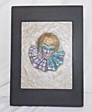 Heine Studio 3 D Raised Clown Relief Plaster Signed Locite W. Germany Harlequin