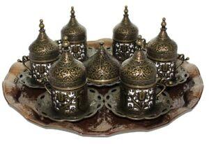 27 Pcs Ottoman Turkish Greek Arabic Coffee Serving Cup Saucer Gift Set Copper