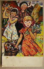Russian Ukrainian Soviet gouache Painting children mushrooms genre portrait