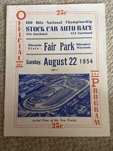 1954 Wisconsin State Fair Park Speedway USAC Indy car  Racing Program