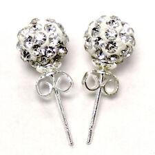 Premium Czech Crystal Shamballa Silver Plated Stud Earring 8mm Clay Disco Ball