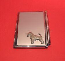 Airedale Terrier Motif on Chrome Notebook / Card Holder & Pen Christmas Gift